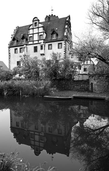 Building Exterior Water Reflection Architecture Built Structure House Outdoors No People Tree Day Extreme Weather Autumn Colors Autumn Sky Germany Altenburg Landscape Beauty In Nature Blackandwhite Black And White Black & White Blackandwhite Photography