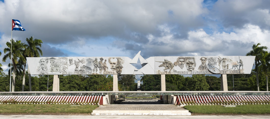 Revolution Square. The place is a sculptural and architectural complex where the remains of Calixto Garcia, a Cuban Hero, are guarded. Architecture Calixto Garcia City City Cloud - Sky Cloudy Cuba Cuban Day Holguin Holguin, Cuba Memorial No People Outdoors Panorama Panoramic Revolution Square Sky Sky And Clouds Tourism Tourist Attraction  Travel Tree