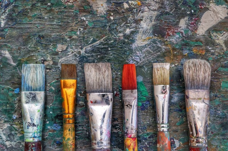 Colorful brushes Paintbrush Art And Craft Multi Colored No People Paint Indoors  Oil Paint Day Close-up Brushes Colorful Painter Artistic Workshop Gallery Backgrounds Wallpaper