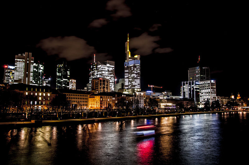 Frankfurt Skyline Building Exterior Architecture Built Structure Night City Illuminated Building Water Sky Reflection River Office Building Exterior Cityscape Waterfront Skyscraper No People Tower Modern Tall - High Outdoors Nightlife Financial District  Frankfurt Am Main Skyline Main