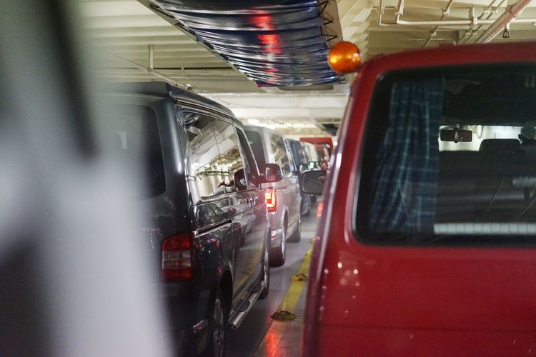 View of cars in bus