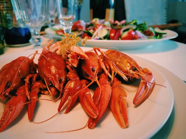 Seafood Food And Drink Food Plate Lobster Freshness Indoors  Serving Size Table No People Ready-to-eat Close-up Healthy Eating Prawn Cooked Day Crayfish Craw Fish Crayfish Party Seafood Indoors  Appetizer Table Setting Food And Drink