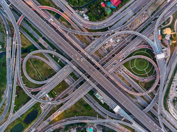 Aerial view of bridges in city