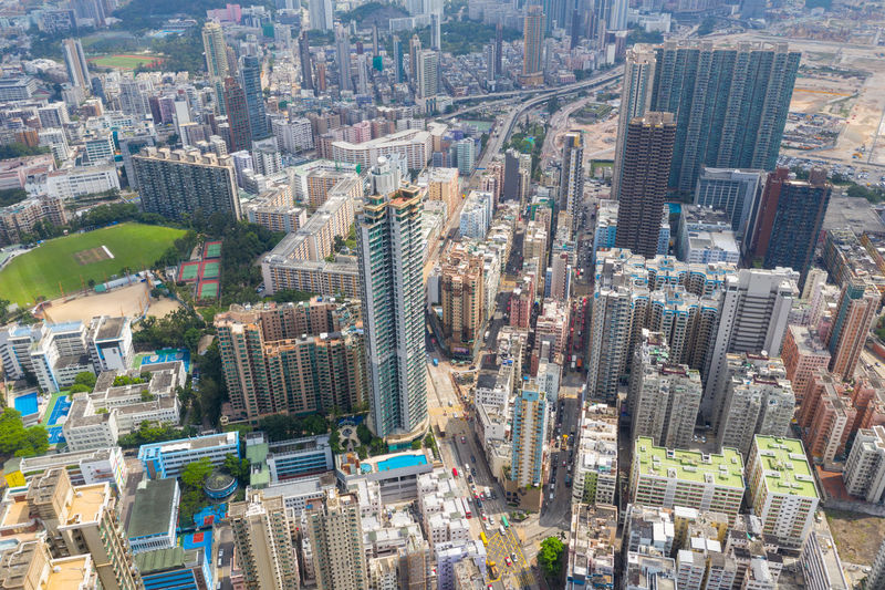 Top view of Hong Kong downtown city To Kwa Wan Hung Hom Kowloon Side District Residential  Apartment Real Estate Public House State Street Building Urban Sky Architecture Town Office Road ASIA Cityscape Skyline Skyscraper Downtown Top View Aerial Fly Drone  Over Above Down Top Down Bird Eye Hk Hong Kong Hong Kong City