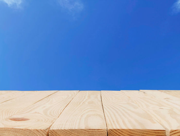 Low angle view of wooden wall against clear blue sky