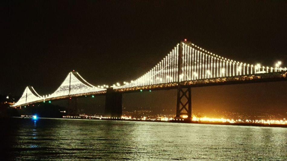 The Bay Bridge Lights up last night Celebrating Super Bowl 50 Hanging Out Sanfrancisco January : Showcase Sanfranciscobaybridge SB50 BroncosNation