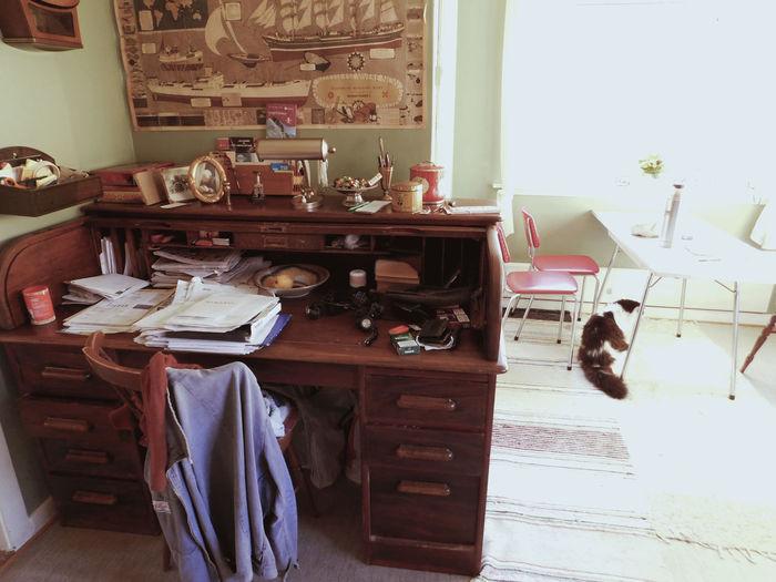 Antique desk Antique Cat Day Desk Home Interior Indoors  Old Times Vintage