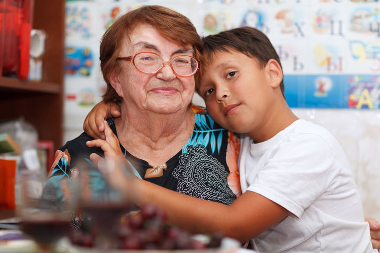 Boy Caucasian Family Fun Generation Grandmother Grandson Great Happy Hug Hugging Little Look Parent People Senior Toddler  Together Woman Young