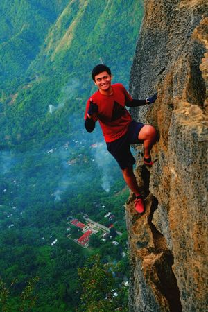 It's more fun in the philippines. Photography Philippines Mountain Happy Happiness Smile Cliff Climbing Cliffs Cliffside Mountain Hiking Leisure Activity Outdoors Healthy Lifestyle Adventure Challenge