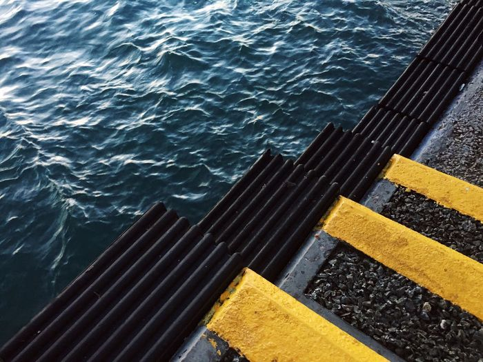 Water Yellow Sea High Angle View Ocean Pier Shore Waves Waves, Ocean, Nature Steps And Staircases
