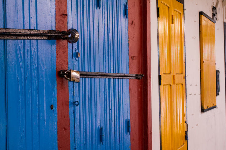 Architecture Backgrounds Blue Building Exterior Built Structure Close-up Closed Day Door Entrance Full Frame Handle Latch Lock Metal No People Protection Safety Security Wood - Material