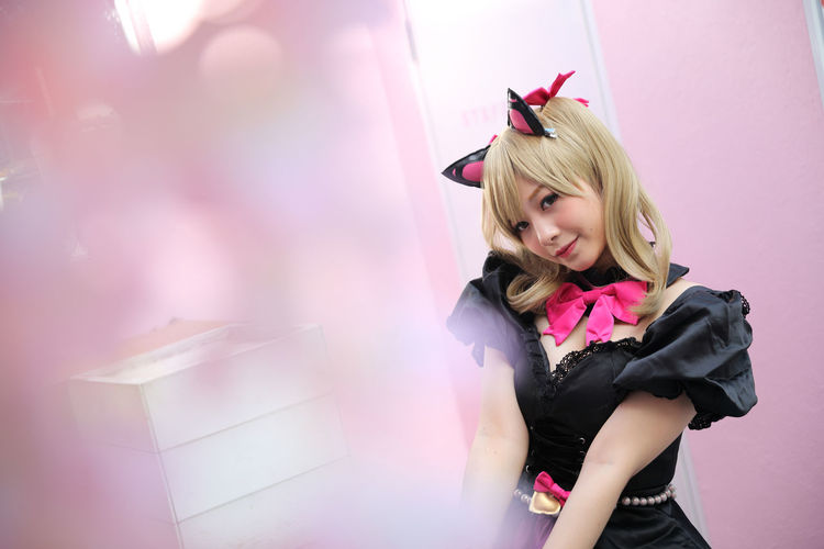 Cosplay Cosplayer Cosplaygirl One Person Lifestyles Leisure Activity Pink Color Real People Women Indoors  Young Adult Blond Hair Young Women Hair Front View Clothing Standing Smiling Portrait Beauty Emotion Hairstyle Beautiful Woman