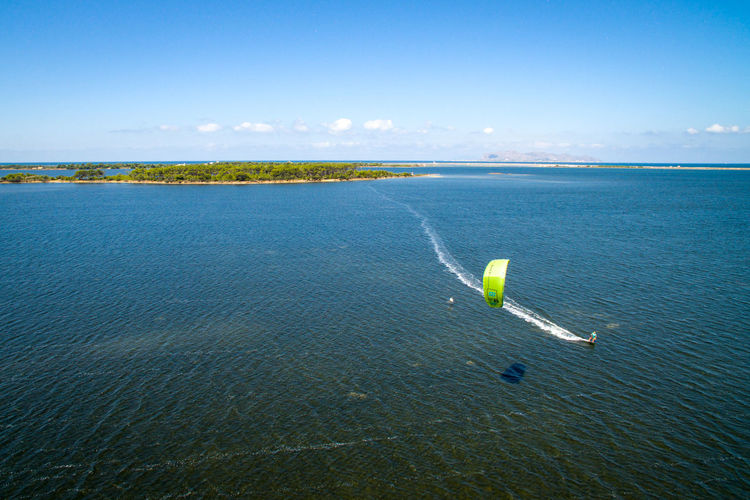 Adventure Aerial View Beach Beauty In Nature Clear Sky Day Horizon Over Water Nature Nautical Vessel No People Outdoors Parachute Scenics Sea Sky Tranquil Scene Tranquility Water