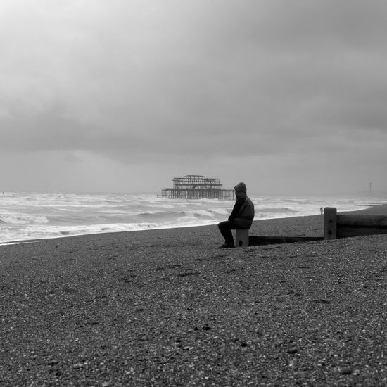 Old man of the seafront Sea Full Length Beach Sky One Person Real People Nature Water Beauty In Nature Standing Cloud - Sky Leisure Activity Rear View Horizon Over Water Sand Outdoors Tranquil Scene Scenics Lifestyles Day Brighton Brighton Pier Brightonbeach Brighton Uk