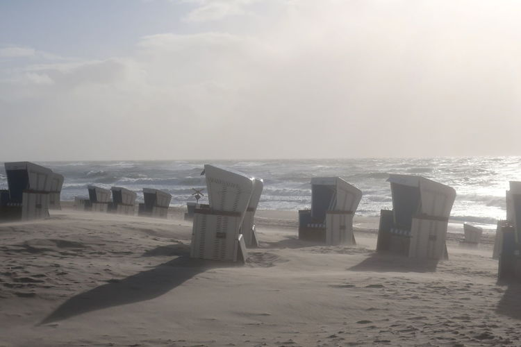 Sea Water Beach Sky Horizon Land Sand Horizon Over Water Beauty In Nature Scenics - Nature Tranquility Nature Tranquil Scene Outdoors Day No People Wave Motion Absence Sylt Nordsee Feeling🐚🌾 Nordseeküste Sandstorm Beachchair