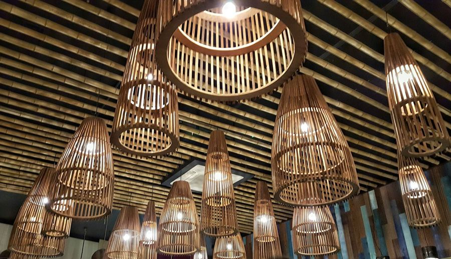 Ceiling Architecture Illuminated Indoors  Low Angle View Lights Lightshade Bamboo
