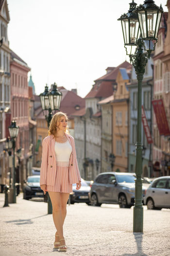 Woman traveling in city
