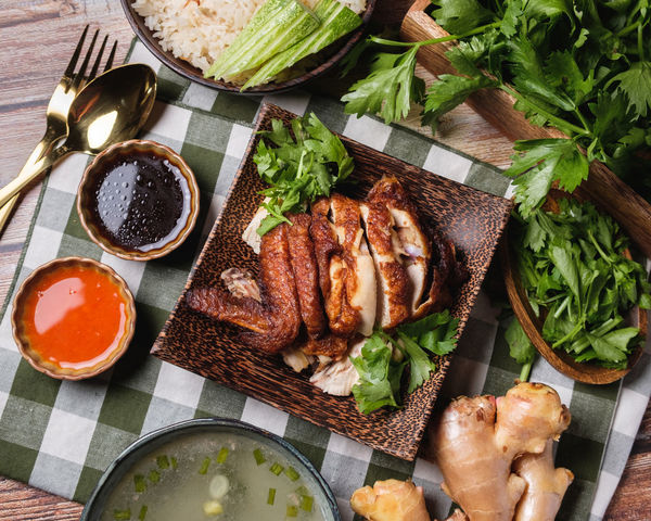 Food Food And Drink Meat Healthy Eating Freshness Vegetable High Angle View Wellbeing Ready-to-eat No People Indoors  Directly Above Cutting Board Meal Table Plate Still Life Preparation  Roasted Dinner White Meat Tray Table Knife Chicken Rice
