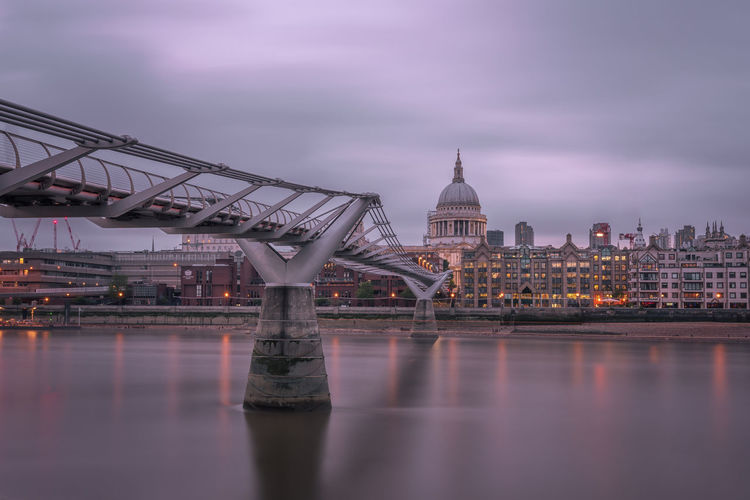 Millenium Bridge and St Paul's Cathedral Architecture Bridge Bridge - Man Made Structure Building Exterior Built Structure Cathedral City Cloud - Sky Day London Long Exposure Millenium Bridge Nature No People Outdoors River Sightseeing Sky StPaulscathedral Thames Water Waterfront