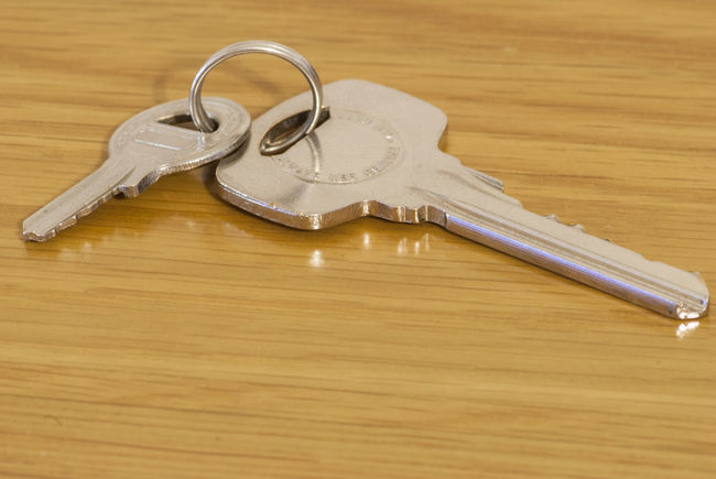 Keys on a wooden background Close-up Indoors  No People