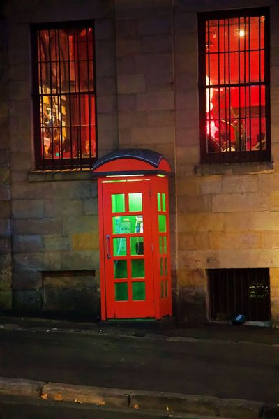 Architecture Building Exterior Built Structure Green Light Illuminated Night No People Outdoors Pay Phone Red Telephone Booth Window