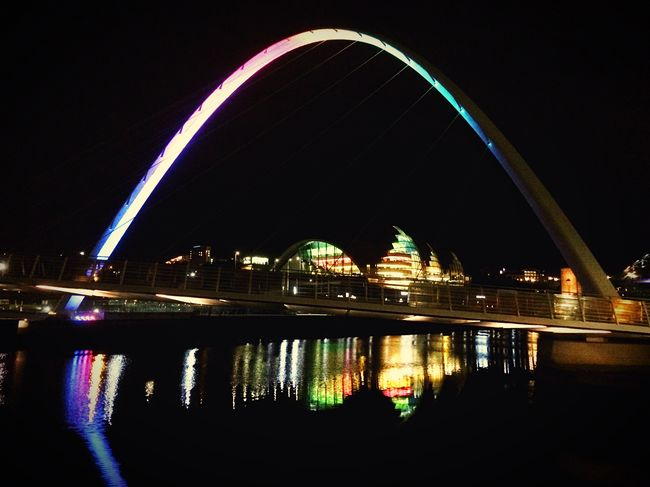 Millennium Bridge in Newcastle at night. Night Water Reflection Arch Built Structure City Bridge Newcastle Newcastle Upon Tyne Millenium Bridge Rainbow Sage Gateshead Gateshead Newcastle Quayside First Eyeem Photo