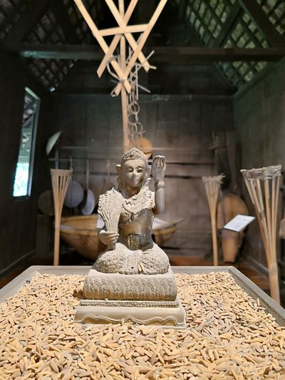 Close-Up Of Goddess Statue Amidst Grains On Table