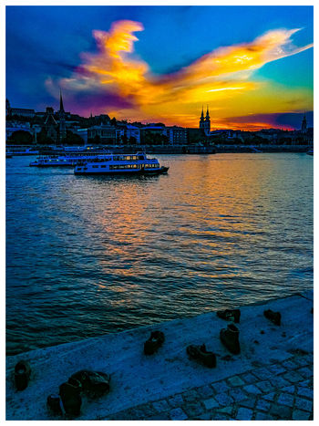 The shoe monument. Travel Destinations Turistic Attractions Tredition Hungary Danube River City Water Sea Sunset Nautical Vessel Multi Colored Beach Dramatic Sky Sky Architecture
