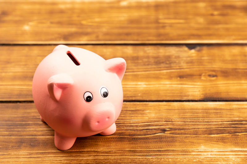 Piggy Bank Piggy Pig Savings Saving Saving Money Money Money Money Money Banking Finance Coin Coins Business Finances Wood - Material Investment Table Pink Color Indoors  Close-up Still Life Single Object