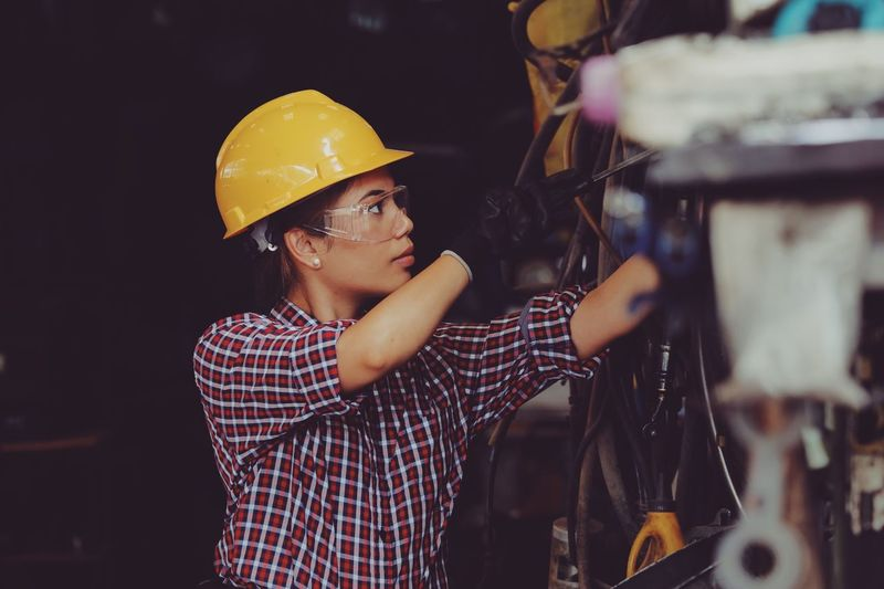 Woman working at industry
