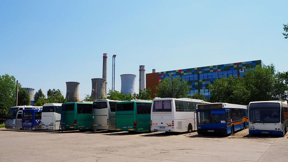 Industry Factory EyeEmNewHere Buss Busses Parked Bus Parked Busses Furnace Furnaces Industrial Landscapes Industrial Photography Industrial Area City Life City View  Streetphotography Clear Sky Urban Geometry Urban Landscape Urbanphotography Neon Life