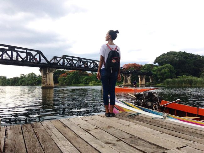 The Bridge Of The River Kwai River Tourist Trip Bag Pack Girl Relax Holiday Thailand Kanchanaburi