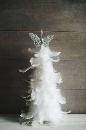 Feather christmas tree Adorn Butterfly Decorative Decoration Concrete Wall Christmas Christmas Tree White Feather  Indoors  Close-up Day