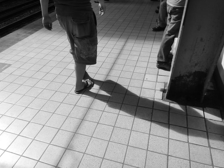Monochrome Photography Low Section Person Low Section Person Walking Men Lifestyles Casual Clothing Human Foot Day Outdoors Footpath Personal Perspective Daylight Eyem Philippines