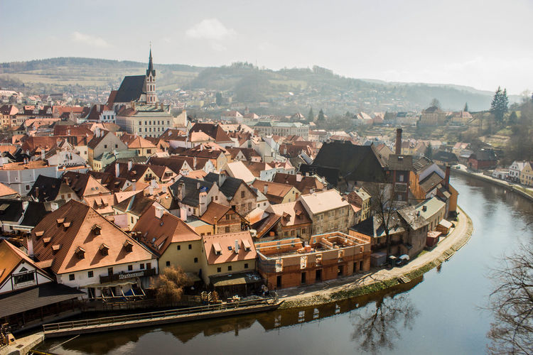 High Angle View Of Cesky Krumlov