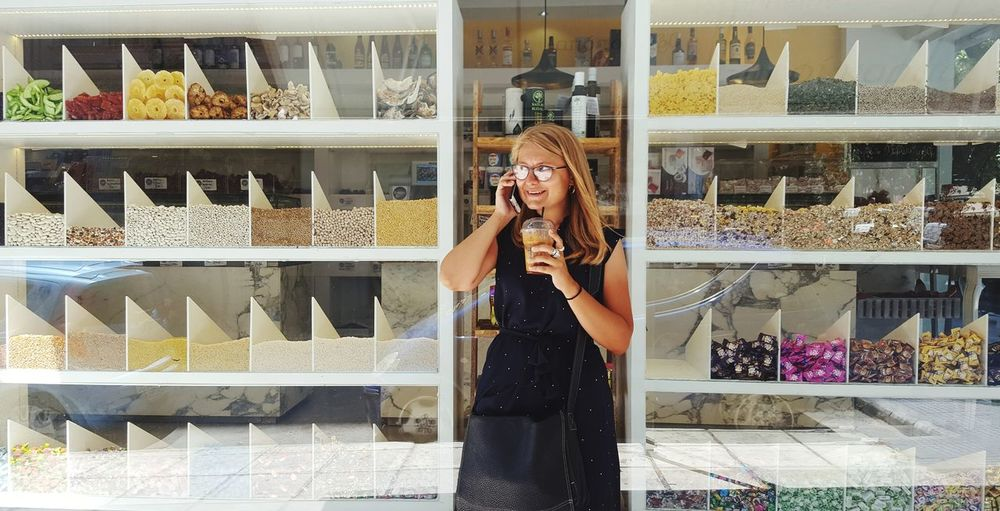 Candy Shop Echo_of_sirens Trip Adventure Outdoors Young Women Blonde Girl Candy Candy Shop Reflection Girl In Glasses Portrait Frappe Speaking On The Phone Reflection The Portraitist - 2018 EyeEm Awards The Modern Professional Moments Of Happiness My Best Photo International Women's Day 2019