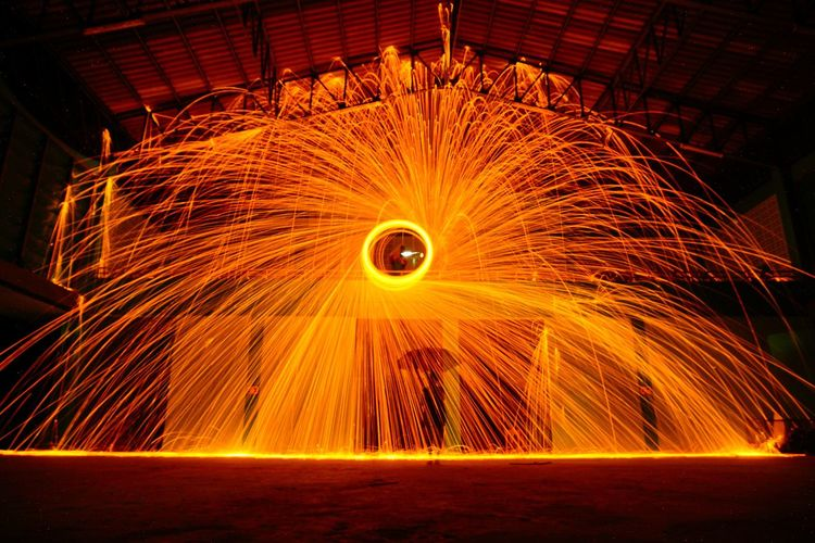 Wire Wool Spinning Indoors At Night