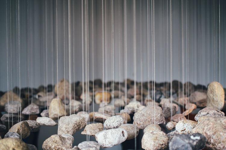 Detail shot of hanging stones