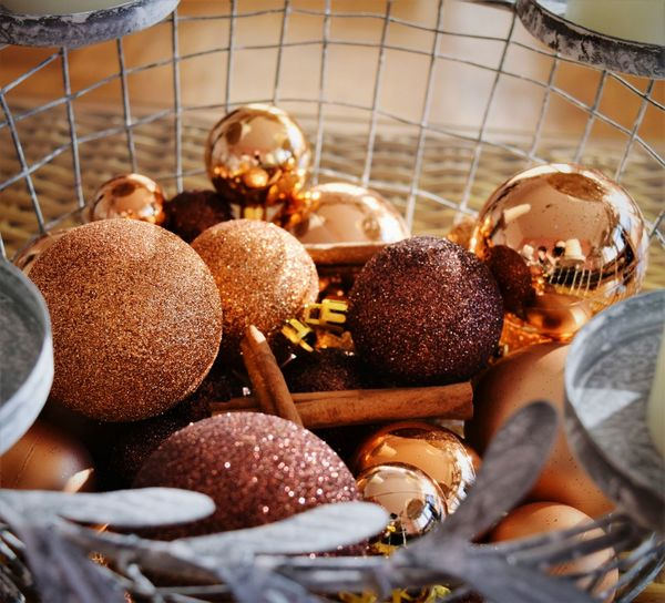 High Angle View Of Baubles In Container During Christmas