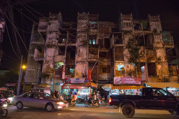 Cambodia Phnom Pehn Phnom Penh Architecture Building Exterior Built Structure Bynight Car City Citybynight Illuminated Land Vehicle Mode Of Transport Night No People Outdoors Phnompenh Road Street Street Photography Streetphotography Transportation