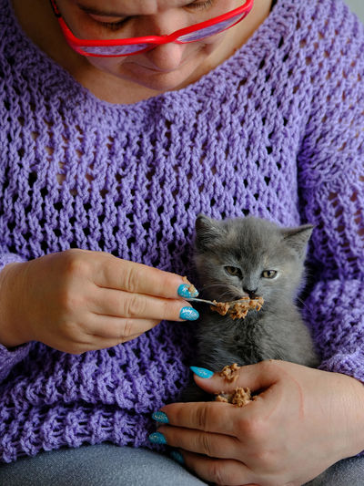 Portrait of a middle-aged woman feeding a cute kitten pate using a spoon