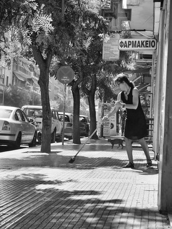 Fujifilmx10 Fujix10 Streetphotography Bw Greece Grexit Broom Cat Morning