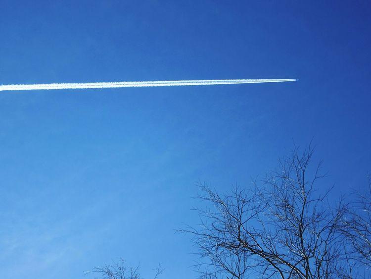 Transatlantic flight Blue Sky Airliner Vapour Trail Overhead Westbound Need For Speed Mizen Peninsula Ireland