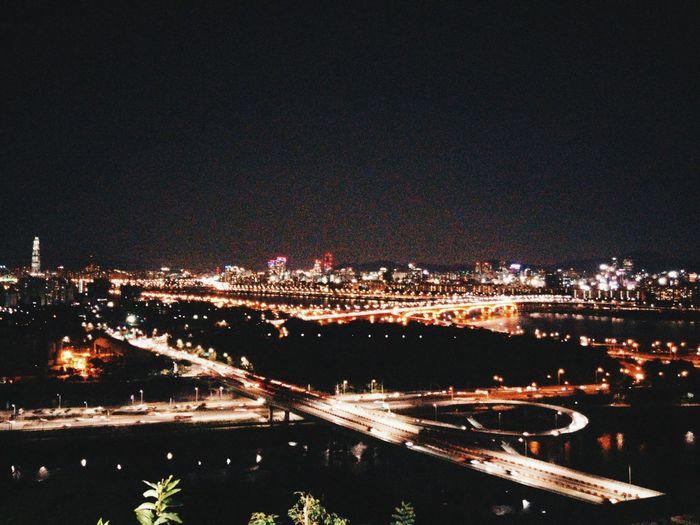 Scenic Lookout Seoul Korea City Road Bridge Freeway Seongsu Architecture Night tge night view of seoul south korea from eunbong lookout point