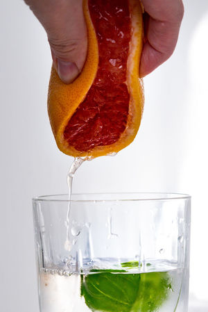 Citrus Fruit Close-up Drinking Glass Finger Food Food And Drink Freshness Fruit Glass Hand Healthy Eating Holding Household Equipment Human Body Part Human Hand Indoors  Motion One Person Orange Preparation  Refreshment Studio Shot