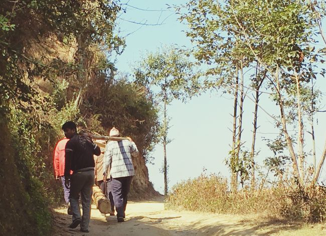 Log Traditional Style Of Carrying At Village Lele Lalitpur Team Work Make The Dream Work