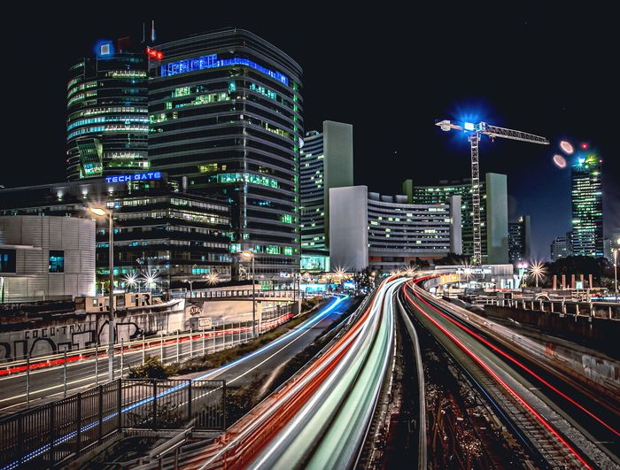Light trails into the city
