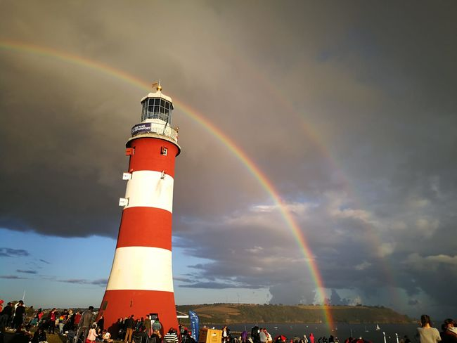 Lighthouse Rainbow Multi Colored Double Rainbow Guidance Weather Sky Building Exterior Built Structure Architecture