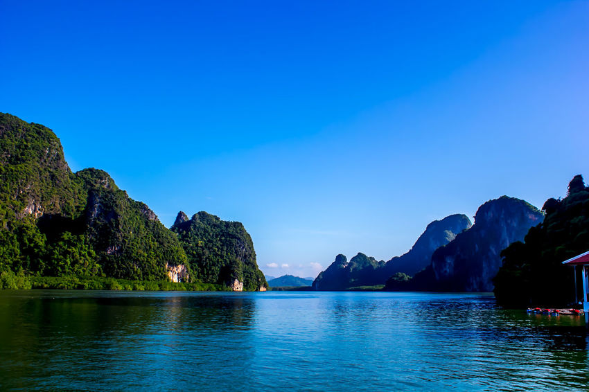 Panyee Island. Beauty In Nature Blue Clear Sky Day Mountain Nature No People Outdoors Rock - Object Scenics Sea Sky Tranquil Scene Tranquility Water Waterfront