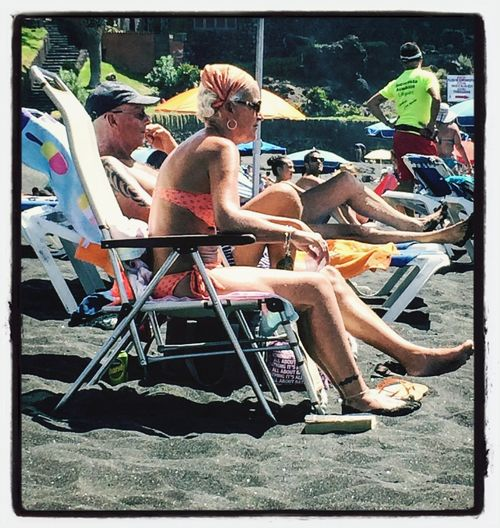 that's me in 40years. tattooed old Beach Babe with brandy & cigarette Miqua On Vacation